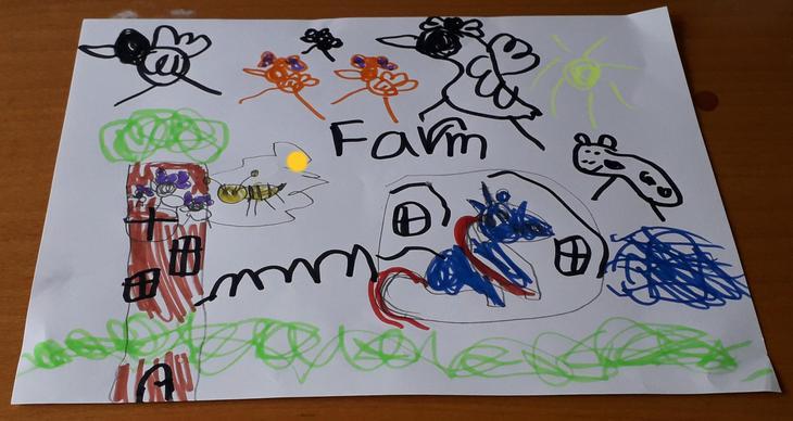 Daneen drew a farm.
