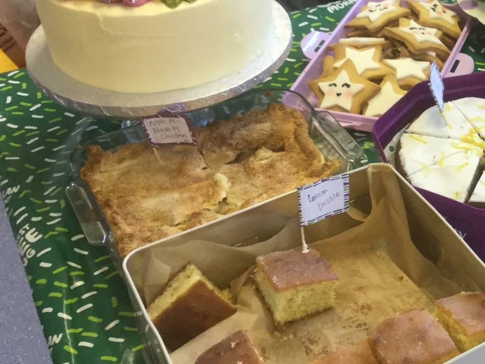 Selling Apple pie at our cake sale