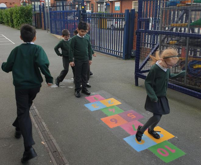 We wanted a hopscotch game to keep us active and healthy!