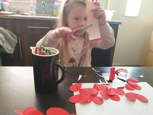 Emilia has been practising her scissor skills.