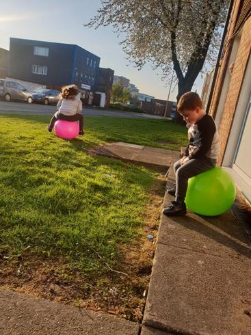 Christopher keeping busy on his space hopper.