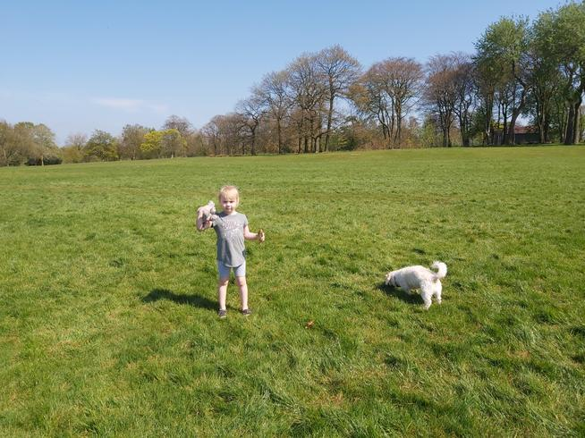 Sienna getting her daily exercise with her dog.