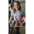 I made rainbow cupcakes!