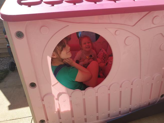 Emilia and Julia in their play house.