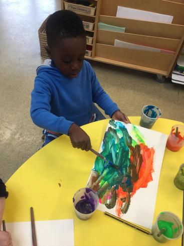 Adimchi decided to paint Elmer -his finished elephant looked great!