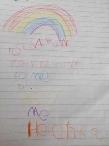 Helena's rainbow writing!