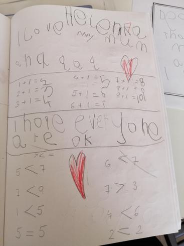 Helena has been working hard in maths.