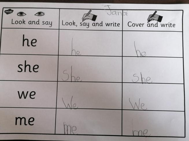 Jana has been spelling tricky words!