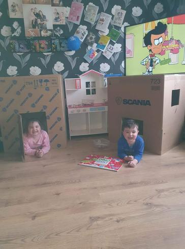 Christopher and his sister have built indoor dens.