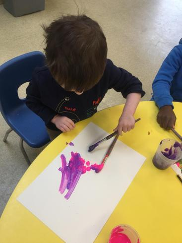 Toby made purple by mixing blue and pink.
