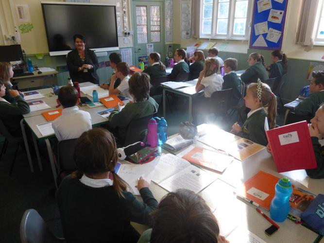 Emma Britton answering the children's question