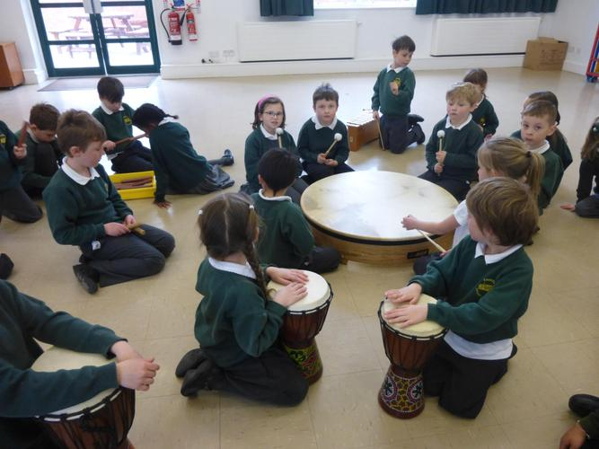 We used drums to make African music.