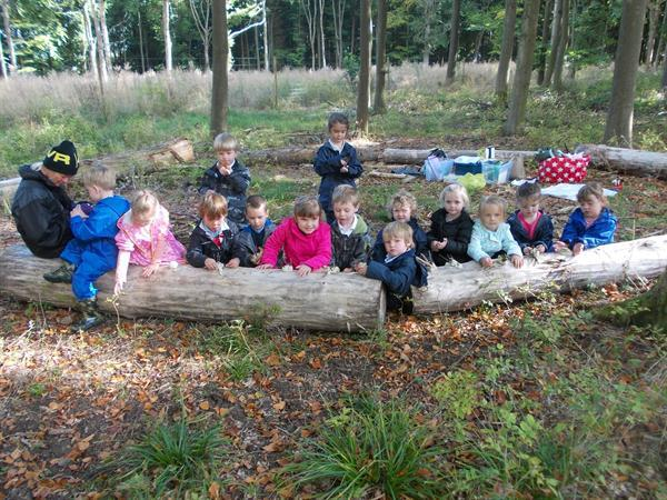 At the woodland for outdoor learning.