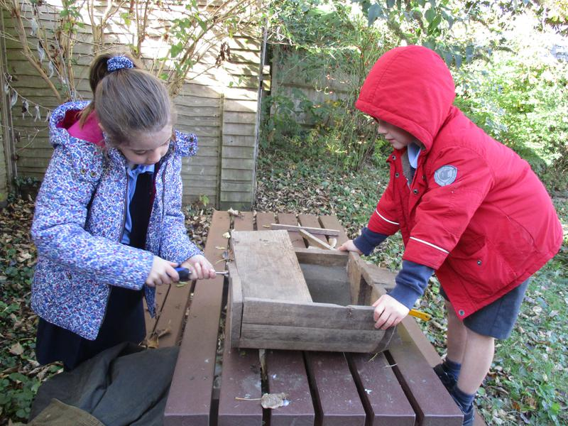Making a hedgehog house.