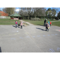 Jumping on our tracks to count forwards and back.