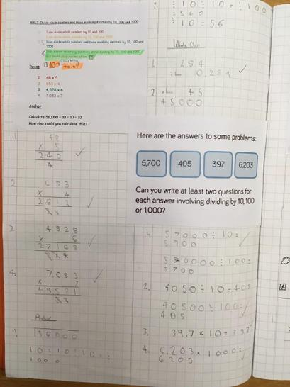 Example of Numeracy work