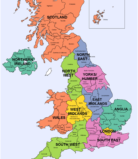 Regions and counties