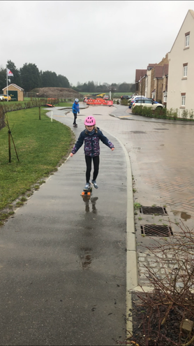 Xanthe is learning to skateboard!
