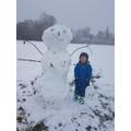 E built a very tall snowman