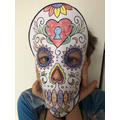 What a colourful skull mask!
