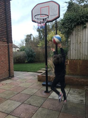 Playing with my new basketball hoop!