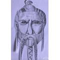 Hazel's amazing Viking portrait.