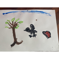 C rescued an injured crow and took it to a rescue centre. Here's her painting of the crow.