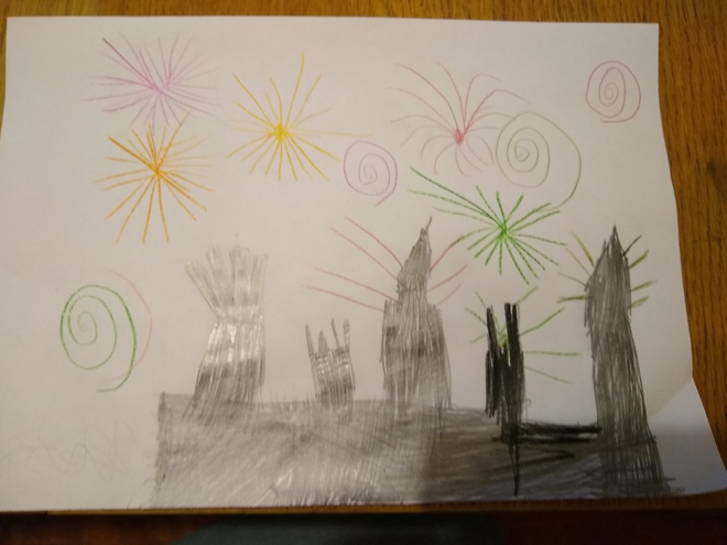 A super picture of the Houses of Parliament and fireworks, T!