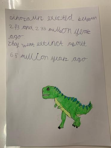 E has researched some facts about dinosaurs, lovely work E!