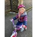 D loves riding her bike