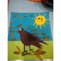 D made a lovely bird. We love the smiley sun