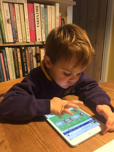 A playing the gingerbread man Maths game