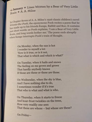 Today's Poem of the Day is from 4/01. It's written from the persepective of Winne the Pooh