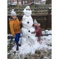 E made a very tall snowman!