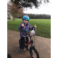 O loves riding his bike.