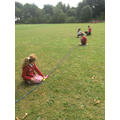 Measuring with skipping ropes.