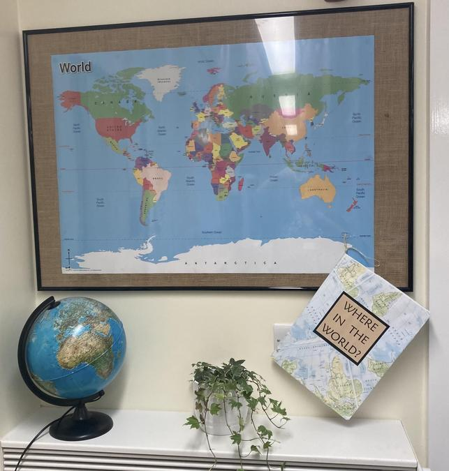 Our new geography zone, we will be adding facts we learn in our new scrap book.