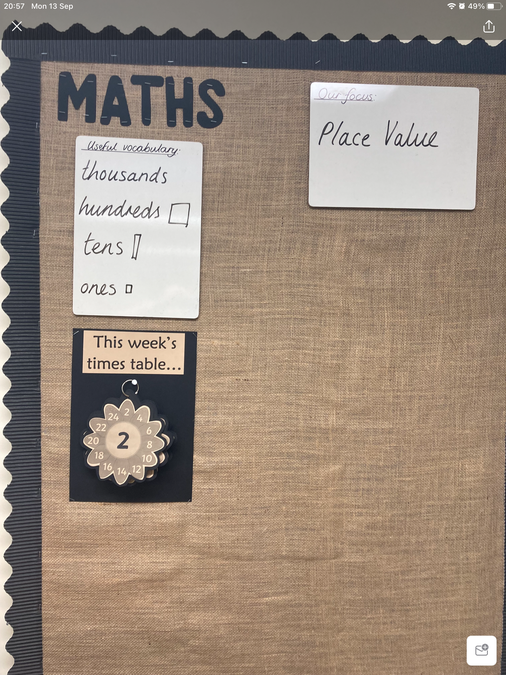 We add to our working wall during our maths lessons.