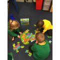 We have been busy doing some dinosaur jigsaws.
