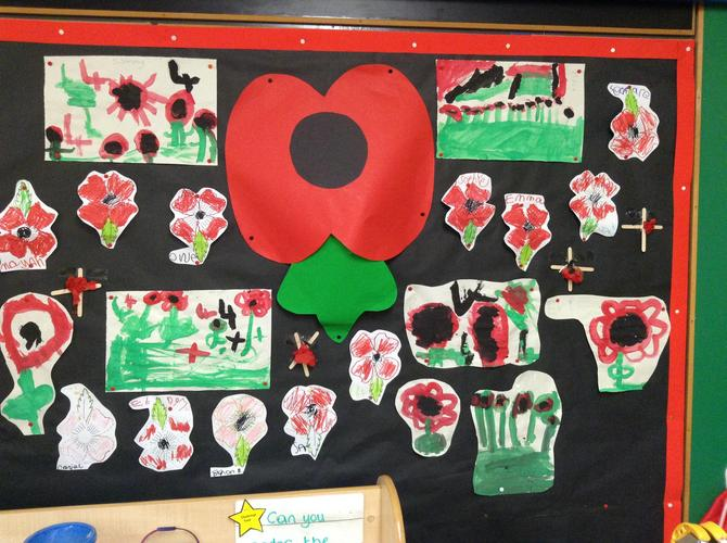 Our poppy display for Remembrance Day.