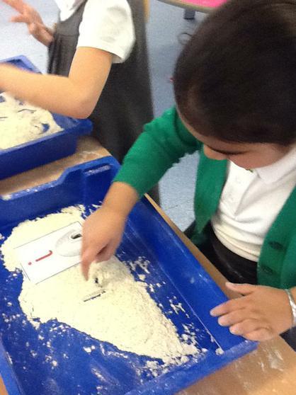 We write in flour.