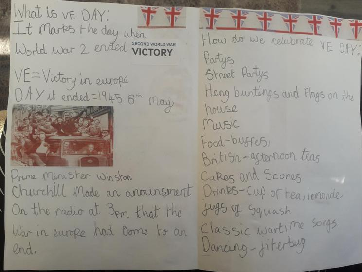 Part of Erin's VE Day booklet