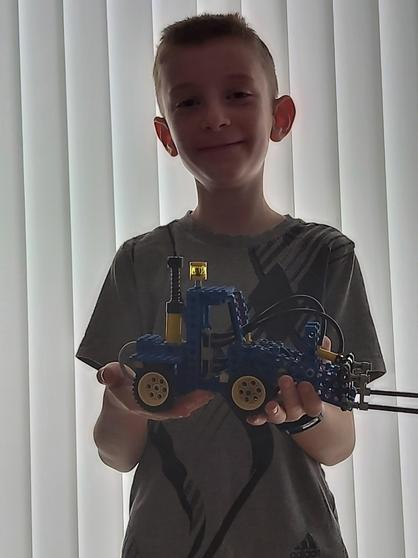Archie with his creation.