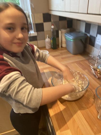 Louisa making Egyptian bread.