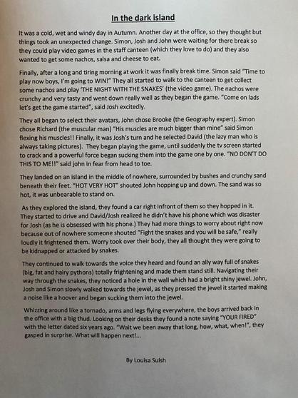 Louisa's fantastic story.