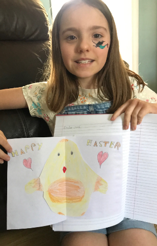 Gracie created an Easter card.