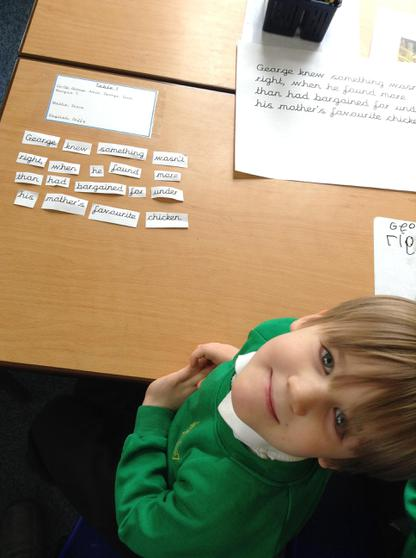 Ordering sentences- great work!