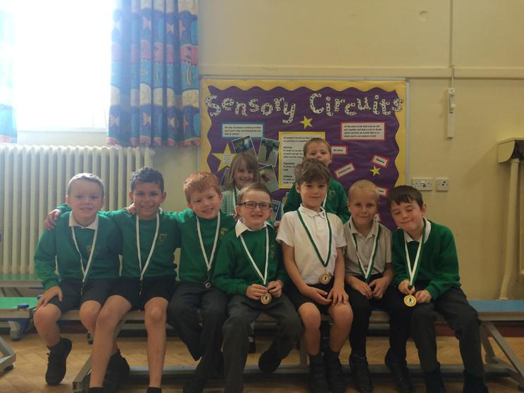 Year 1 and their medals for the football festival!