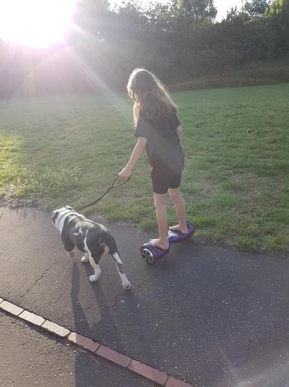 Amelia walking her dog!