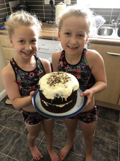 Summer and Skye baked a delicious cake for VE day